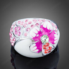 Flower Oil Paiting Enamel Ring Women Austrian Crystal White Gold Plated Jewelry