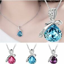 Women's Rhinestone Chain Crystal Necklace Pendant Lady's Fashion Jewelry
