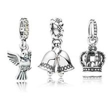 S925 Sterling Silver Crown Bell Bird Pendant Fit 3mm European Charm Bracelet