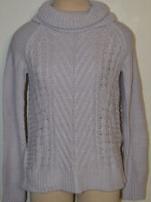 Women's ELLE Lavender Purple Long Sleeve Cowl Neck Cable Sweater Top S, M, XL