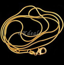 2mm Snake Chain Jewelry 18K Yellow Gold Plated Snake Chain Pendant Necklace