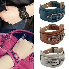 Punk Fashion Men's Women's Wide Faux Leather Belt Bracelet Cuff Wristband Bangle