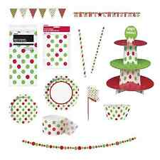 CHRISTMAS RED & GREEN POLKA DOT Party Range - Tableware Balloons & Decorations