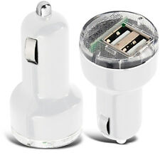 TWIN WHITE USB ADAPTOR / ADAPTER CAR CHARGER FOR VARIOUS MOBILE PHONES
