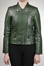 Ladies 100% Leather Fitted Green Quilted Biker Double Breasted Retro Jacket