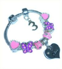 CHILDRENS/GIRLS PERSONALISED NAME/INITIAL & AGE CHARM BRACELET PINK/PURPLE BOXED
