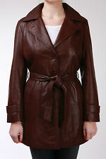 Trench Ladies Brown Mac Classic Mid-Length Designer Real Soft Leather Coat