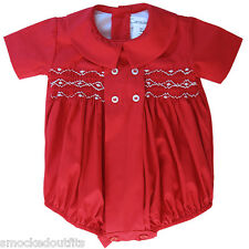 Elegant Baby Boy Red Christmas Timothy Smocked Bubble Outfit 17970