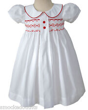 Primrose White Baby Girls Holiday Dress with Red Hand Smocking Christmas. 17969.