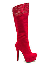 Task Red Knee high Boots Platform Stiletto Heels Women's shoes Qupid