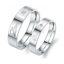 Wedding Ring Love Key Couple Rings Stainless Steel Engagement Solid Women Gifts