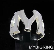 STERLING SILVER MEN'S INITIAL RING ONE 1 BOLD CAPITAL BLOCK LETTER M ANY SIZE