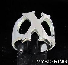 STERLING SILVER MEN'S INITIAL RING ONE 1 BOLD CAPITAL BLOCK LETTER X ANY SIZE