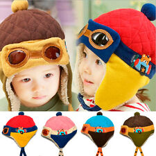Baby Kids Girls Boys Winter Fleece Lined Aviator Trapper Cap Ear Beanie Hat O735