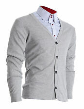 FLATSEVEN MENS SLIM FIT STYLISH BUTTON UP CARDIGAN / FC100GR