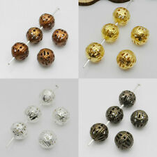 Lots 25-100Pcs Plated Metal Hollow Out Ball Shiny Spacer Bead Findings 4/8/10mm