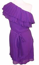 New Miss Sixty purple organza one shoulder tiered party dress with tie waist
