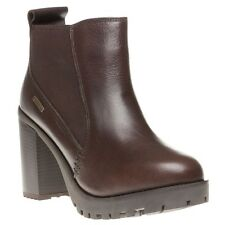 New Womens Firetrap Brown Queenie Leather Boots Ankle Elasticated