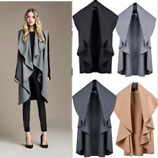 Women Ladies Celebirty Sleeveless Waterfall Cape Cardigan Blazer Jacket Coat Top