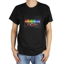 Music Sound Activated LED Light T-Shirt with Detachable EL Panel for Party Dance