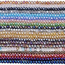 """Strand Crystal Faceted Abacus Rondelle Glass Loose Bead Jewelry Findings DIY 15"""""""