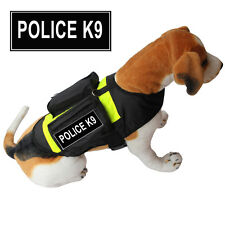 POLICE K9 SERVICE DOG Vest Harness w/ POCKETS & Side Bags FREE 2 label Patches
