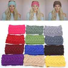 New Xmas Crochet Flower Winter Headband Knit Hairband Women Ear Warmer Headwrap