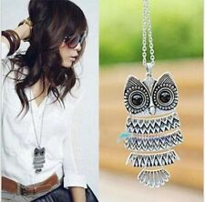 New Womens Fashion Vintage Style Bronze Owl Long Chain Necklace Pendant Jewelry