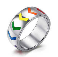 316L Stainless Steel Gay Jewelry Rainbow Direction arrow Band Ring Size 6 to 12