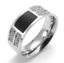 Men's Silver Black CZ New Fashion 316L Stainless Steel Rings Jewelry Size 7-12