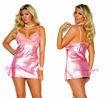 Plus Size PINK CHARMEUSE BABYDOLL Lace Bodice Underwire Cups G-String HOLIDAY