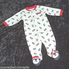 Carters Baby's First Christmas Penguins Infant Sleeper Bodysuit (SIZE 6 Months)