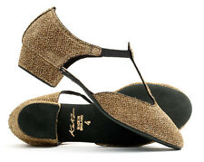 Ladies Gold Sparkly Glitter Dance Greek Sandal Line Dance Salsa Shoes By Katz