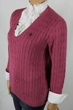 Ralph Lauren X-Large XL Pink Cable Knit V-Neck Sweater Navy Blue Pony NWT