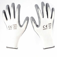 Grey PU Coated Safety Gloves Work Gloves General Purpose 12/24 Pairs Size 8 9 10