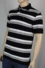 Tommy Hilfiger White Black Grey Polo Shirt Stripes NWT