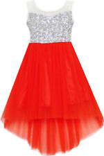 Sunny Fashion Girls Dress Sequin Mesh Party Wedding Princess Tulle Red Size 7-14