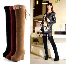 Womens Faux Suede Platform Wedge Heel Over The Knee Thigh Boot  Zip Winter Shoes