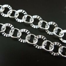 Sterling Silver Textured Circle Chain 8mm Bulk By The Foot Wholesale Italy 925