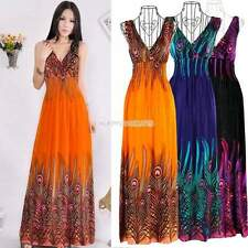 Women Sexy Boho Peacock Tail Hawaiian V-neck Long Beach Maxi Dress Sundress NEW