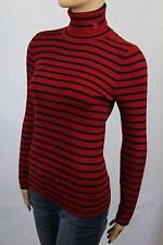 Ralph Lauren Red Black Stripe Ribbed Turtleneck Sweater NWT
