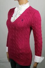 Ralph Lauren Pink Cable Knit V-neck Sweater Blue Pony NWT
