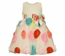 Bonnie Jean Girls Ivory Shantung Multi Color Bonaz Birthday Dress 2T 3T 4T