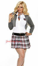 PLUS SIZE Sexy SCHOOL GIRL COSTUME Mini Tartain Plaid Sweater QUEEN OF DETENTION