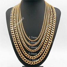 3.5/5/7/9/11mm Men's Boy's Gold Chain Stainless Steel Curb Link Necklace 18-38""