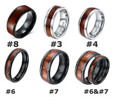 Mens Tungsten Ring Koa Wood Inlay Dome Band Comfort Fit Jewelry Wedding Band