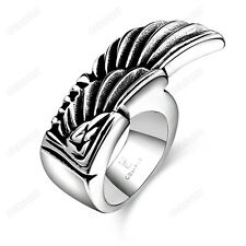Men's Retro Cool Wings Band Ring Fashion 316L Stainless Steel Jewelry Size 8 -11