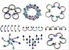 New multi-color 2pcs Body Piercing Jewelry Nose Eyebrow Navel Rings Lip Rings