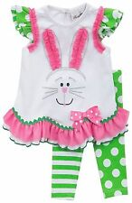 Rare Editions Girl Easter Bunny Face Pageant Dress Leggings Baby 12M 18M 24M