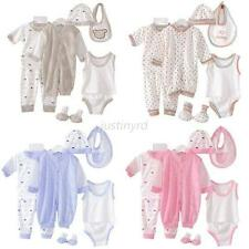 8PCS Newborn Baby Infants Cotton Clothes Sets Hats+Socks+Bib+Tops+Pants 0-3M New